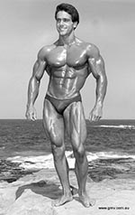 Classic bodybuilding physique - John Terilli posing at the beach